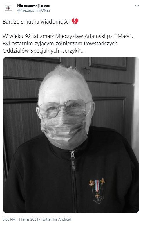 Nie żyje Mieczysław Adamski