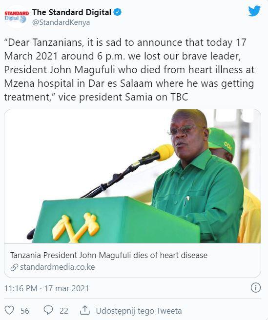 Prezydent Tanzanii nie żyje