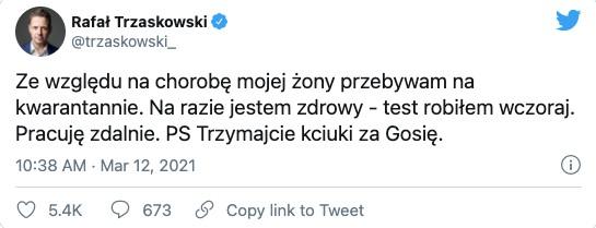 Rafał Trzaskowski chora żona