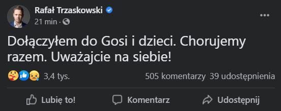 Rafał Trzaskowski przekazał wiadomość o zakażeniu COVID-19