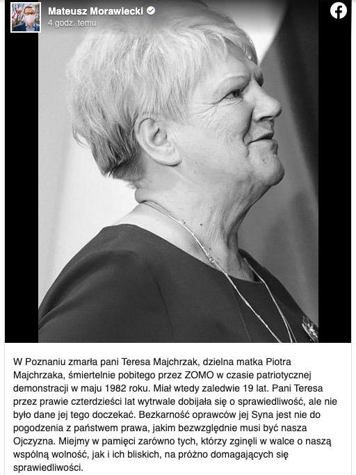 Nie żyje Teresa Majchrzak