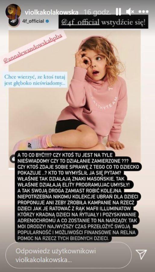 Viola Kołakowska skomentowała kampanię reklamową z udziałem Anny Lewandowskiej